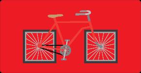 RAD MKT Gráfico de Servicios de Usabilidad / Bicicleta con ruedas cuadradas